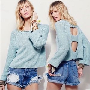Free People Endless Stories Open Back Crop Sweater